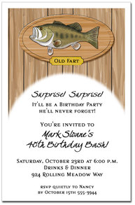 Bass Plaque Fishing Party Invitations from TheInvitationShop.com