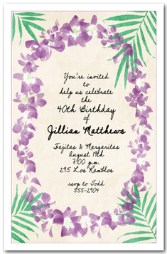 Orchid Lei Party Invitations from TheInvitationShop.com