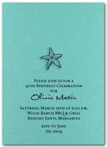 Starfish on Shimmery Teal Party Invitations from TheInvitationShop.com