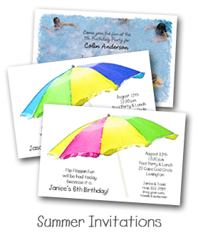 Kid's Summer, Beach & Pool Party Invitations from TheInvitationShop.com