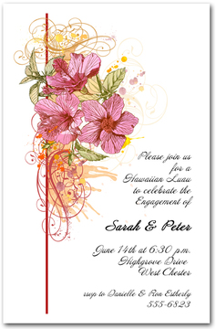Pink Hibiscus Swirl Invitations from TheInvitationShop.com