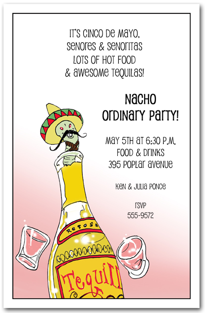 Tequila Worm Party Invitations for Cinco de Mayo Party Invitations and More! TheInvitationShop.com