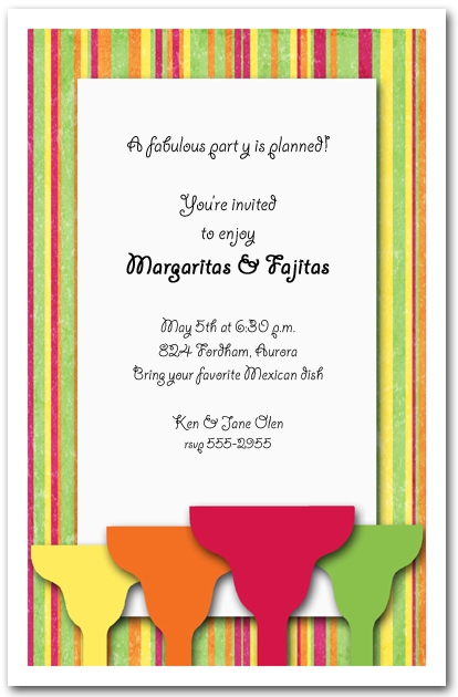 Margaritas on Bright Stripes Party Invitation from TheInvitationShop.com