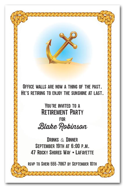 Anchor & Rope Nautical Theme Retirement Party Invitations