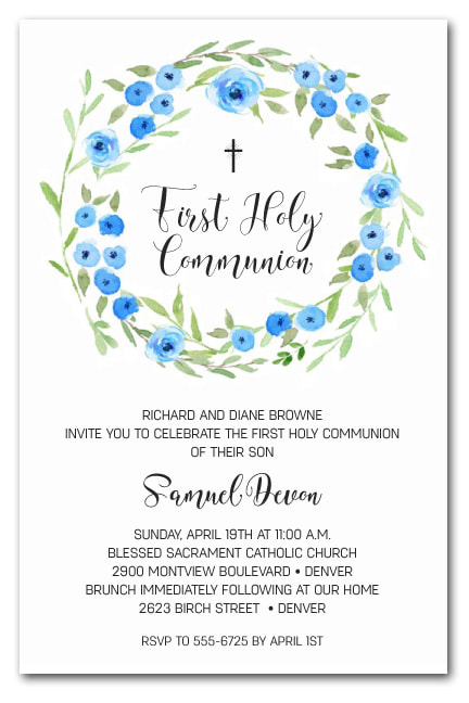 Blue Blooms Wreath Invitations - First Communion, Baptism, Christening Invitations