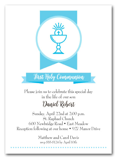 Blue Chalice Banner Invitations - First Communion, Baptism, Christening Invitations