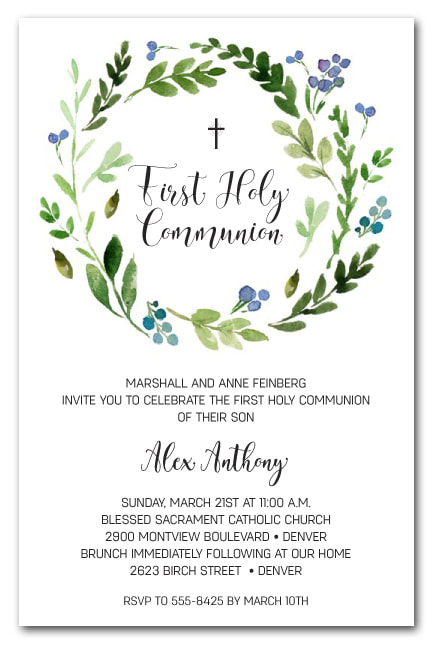 Blue Bud Wreath Invitations - First Communion, Baptism, Christening Invitations