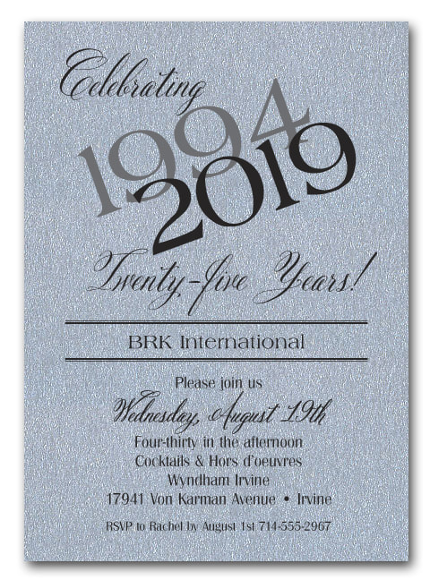 Then & Now Shimmery Silver Business Anniversary Invitations - SEVERAL PAPER COLORS AVAILABLE