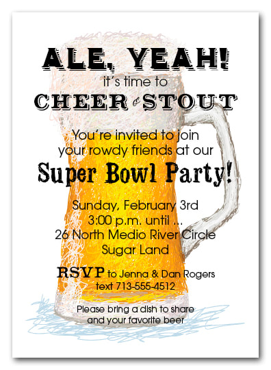 Draft Beer Super Bowl Invitations