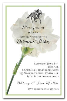White Carnation Belmont Stakes Party Invitations