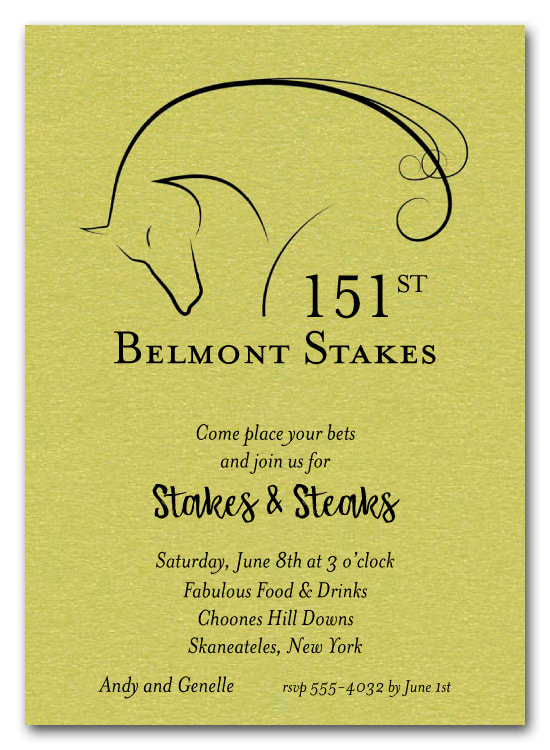 Belmont Stakes Elegant Horse on Shimmery Lime Party Invitations
