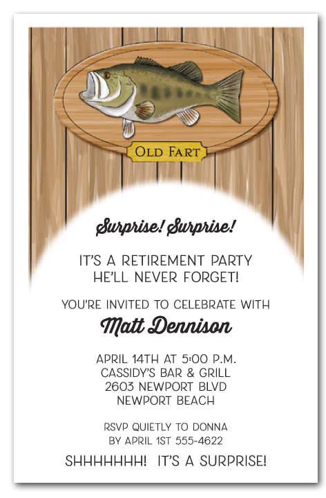 Retirement Party Invitations - We love this fishing theme retirement party invitation, but we have lots of themes available your guest of honor will love.