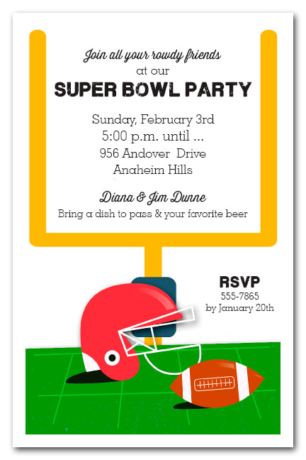 Red Football Helmet Super Bowl Invitations