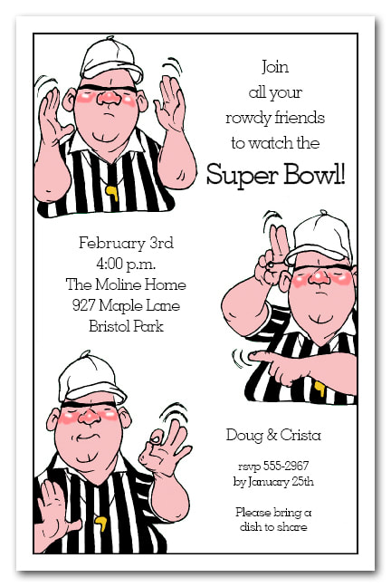 Refree Signals Super Bowl Party Invitations