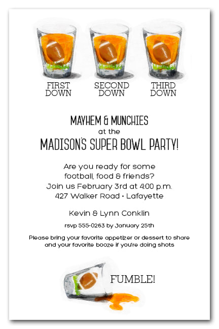 Football Shot Glasses Super Bowl Party Invitations