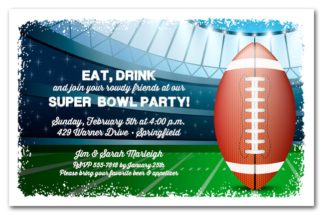 Football Stadium Kickoff Super Bowl Invitations