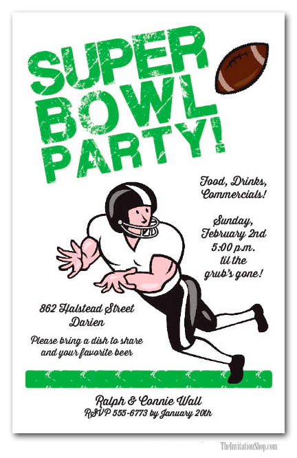 Wide Receiver Super Bowl Party Invitations