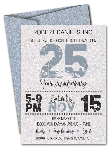 Grunge Silver Business Shimmery Anniversary Invitations - LOTS OF COLORS AVAILABLE - Change the year to ANY YEAR!
