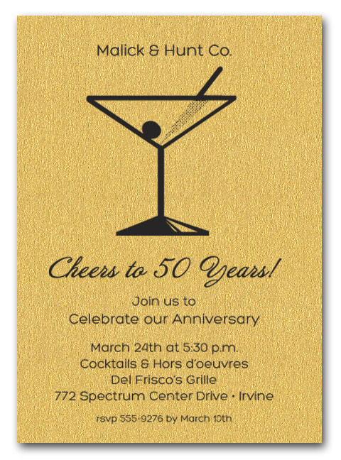 Martini Invitations on Shimmery Gold Paper - LOTS OF PAPER COLORS AVAILABLE! Use for business cocktail party invitations, anniversary party invitations, retirement party invitations and more.