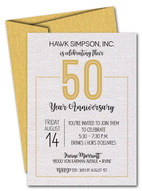 Business Anniversary Invitations on shimmery white paper and shimmery color envelopes. LOTS OF SHIMMERY PAPER COLORS AVAILABLE. Use for ANY YEAR! Just change the wording.