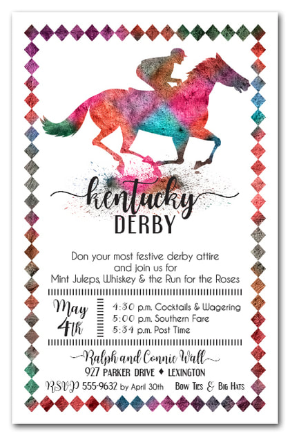 Painted Race Horse Belmont Stakes Party Invitations
