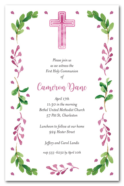Pink Cross, Leaves & Buds Invitations - First Communion, Baptism, Christening Invitations