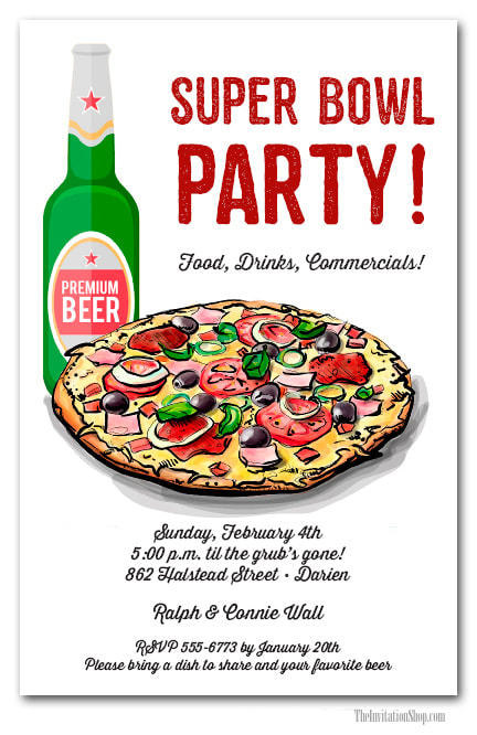 Pizza & Beer Super Bowl Invitations