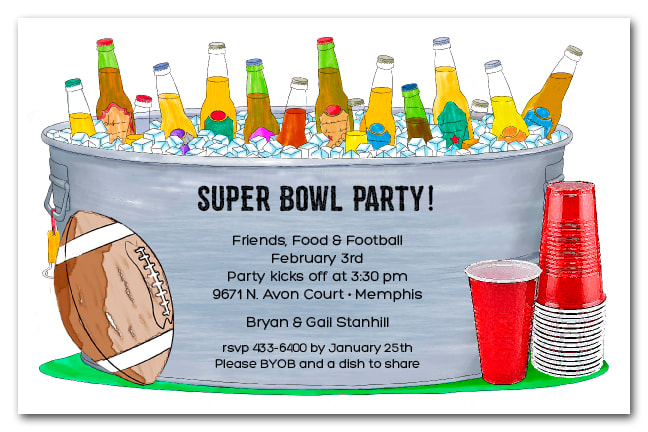 Red Cups and Bucket of Bottles Super Bowl Invitations