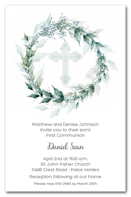 Sage Wreath Blue Cross Invitations - First Communion, Baptism, Christening Invitations