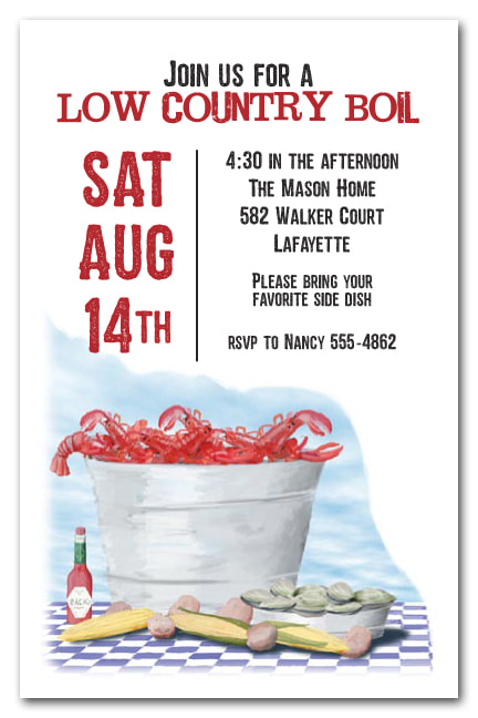 Food themed business party invitations - we love this seafood table invitation, but we've got lots of designs to choose from.