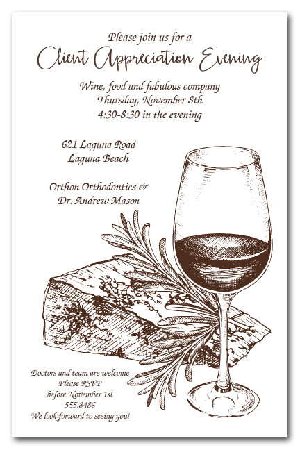 Sketched Wine and Cheese Party Invitations
