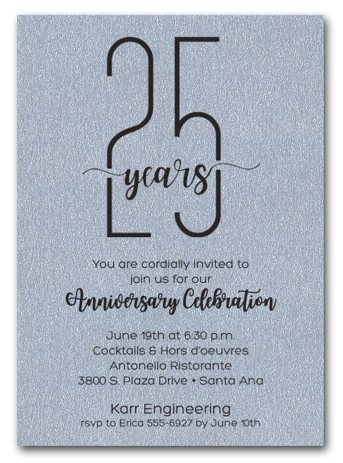 Shimmery Silver Business Anniversary Party Invitations - also use for retirement party invitations, corporate anniversary party and more. LOTS OF PAPER COLORS AVAILABLE. Use for any occasion, just change the wording.