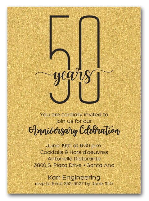 Shimmery Gold Business Anniversary Party Invitations - also use for retirement party invitations, corporate anniversary party and more. LOTS OF PAPER COLORS AVAILABLE. Use for any occasion, just change the wording.