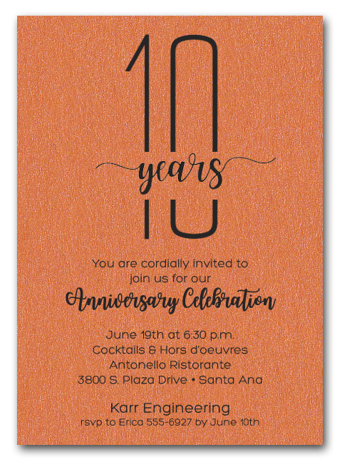 Shimmery Orange Business Anniversary Party Invitations - also use for retirement party invitations, corporate anniversary party and more. LOTS OF PAPER COLORS AVAILABLE. Use for any occasion, just change the wording.