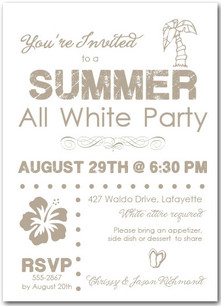Summer White Party Invitations