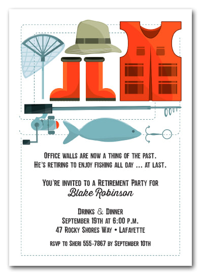 Retirement Party Invitations - We love this fishing theme, but we have lots of themes available your guest of honor will love.