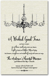Halloween Chandelier Shimmery White Invitations